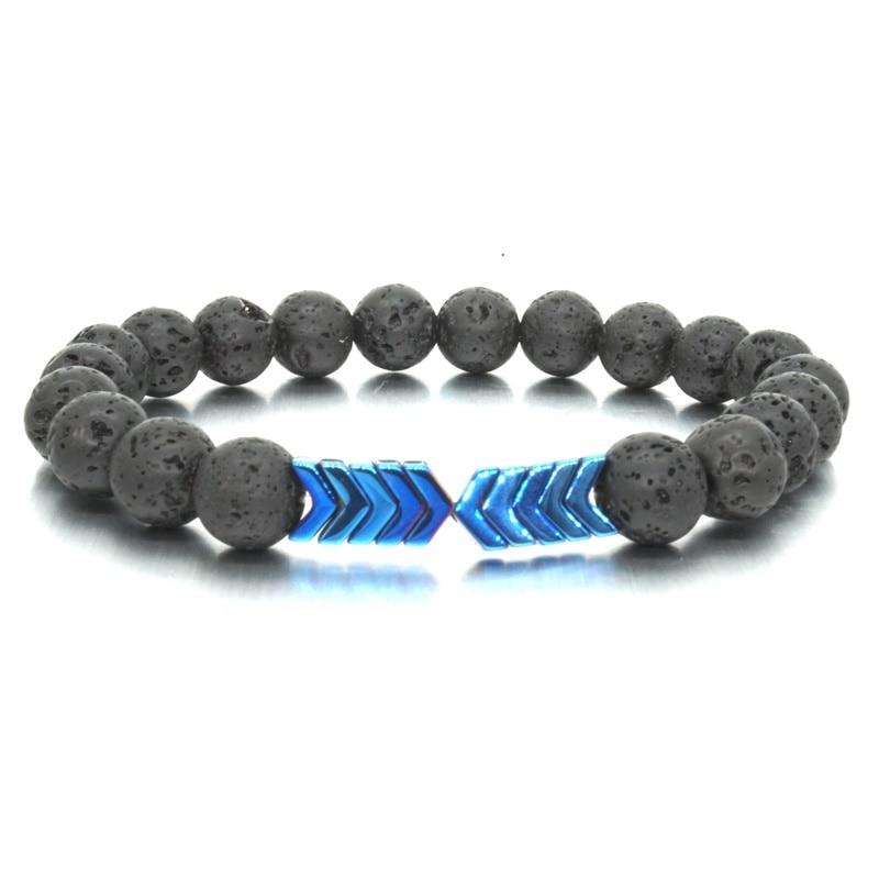 8 Farben Hämatit Pfeil Charms Armband Schwarz Lava Stein Perlen Ätherisches Öl Diffusor Armbänder Kühlen Männer Frauen Schmuck