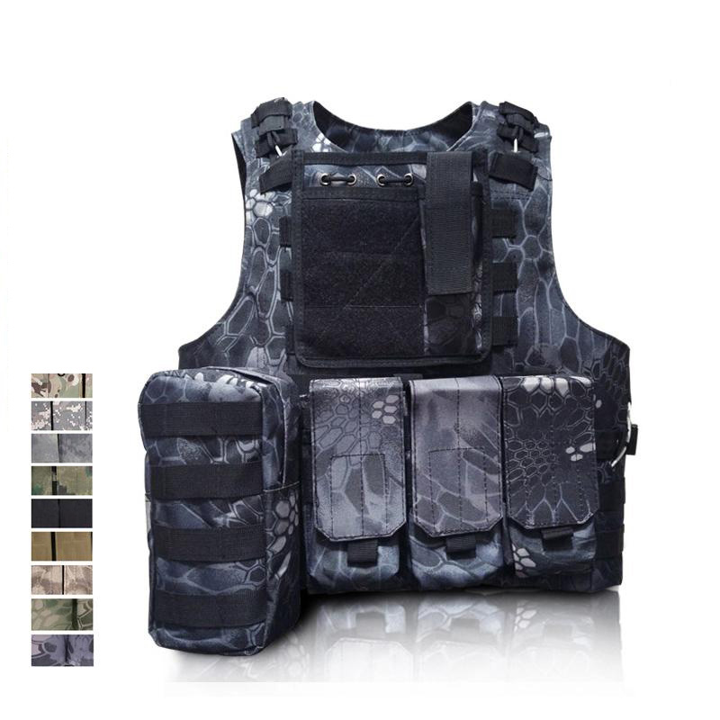 10 couleurs Militaire Fantôme Tactique Gilet de Haute Qualité Imperméable À L'eau En Nylon Fil D'acier Camouflage Veste Tactique CS Paintball GEAR BE50