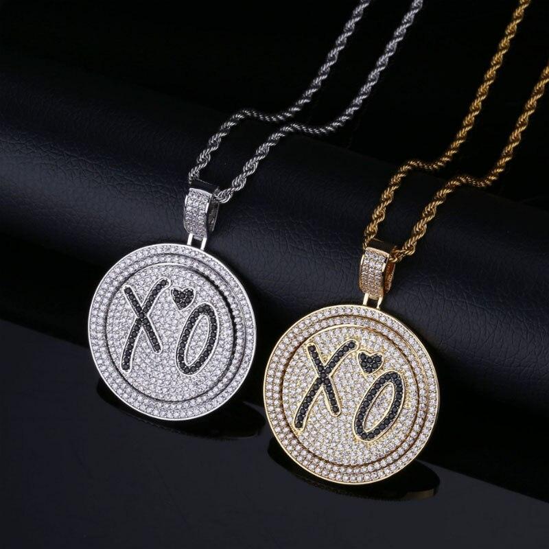 Мода Любовь XO рэп подвеска с тонированным Цирконом вращающийся двойной диск ожерелье