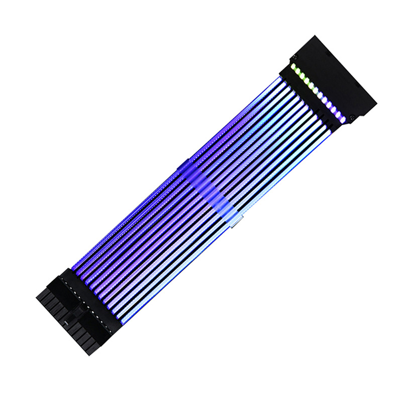 <font><b>24Pin</b></font>+8Pin Neon Line 24 Pin Power RGB PSU Line PC Motherboard Power <font><b>Extension</b></font> Adapter <font><b>Cable</b></font> for E-ATX/ATX/Micro ATX Motherboard image