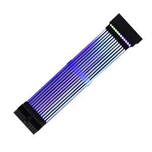 Image 1 - 24Pin + 8Pin ネオンライン 24 ピン電源 RGB PSU ライン PC マザーボード電源延長アダプタケーブル E ATX/ ATX/マイクロ ATX マザーボード
