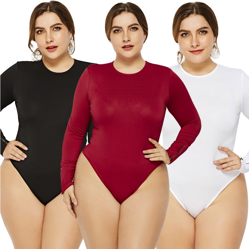 Women Large Size Leotard Bodycon Bodysuit Playsuit Tops Long Sleeve Pullover Solid Jumpsuit Rompers For Ladies 4XL 5XL 6XL 2019