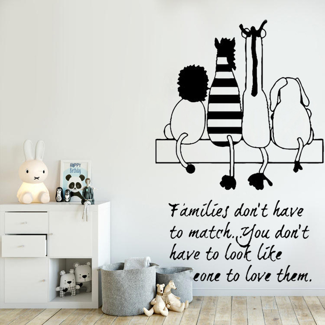 Family Quote Wall Sticker Kids Room Decal Animals