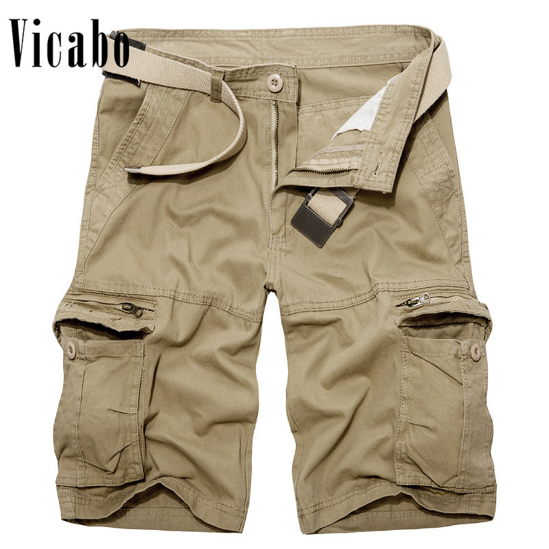 Vicabo Mens Cargo Shorts Casual Loose Short Shorts With Pocket Summer Tactical Cotton Workout Shorts