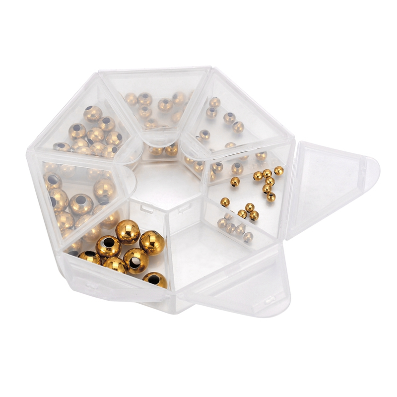 LASPERAL 1Box Stainless Steel Accessories For Beads Jewelry Findings & Components Spacer Beads Supplies For Jewelry 3/4/5/6/8mm