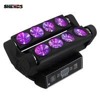 Venta Haz LED araña cabeza móvil 8x10W RGBW barra de iluminación haz iluminación con cabezal móvil para escenario DMX 512 SHEHDS equipo de DJ envío rápido