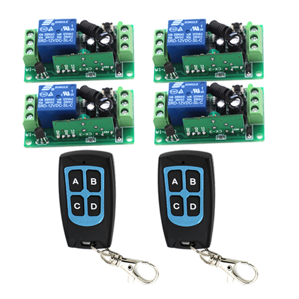 DC12V Wireless Remote Control Switch RF Remote Plug 1CH Receiver + 4 CH Transmitter 315MHZ /433Mhz SKU: 5148 new dc12v 10a mini 1ch rf wireless remote control 4 receiver 4 transmitter 315 433 mhz white black remote control with abcd key