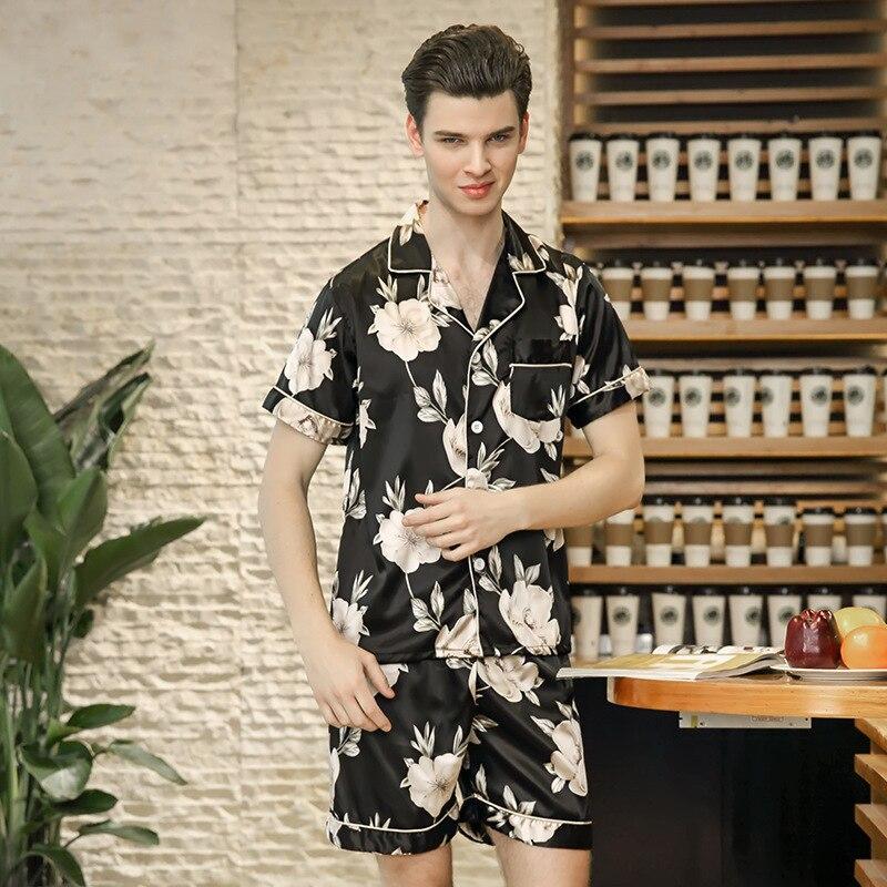 New Men Pajamas Set Summer Pajamas Suit Short Sleeve Sleep Set Novelty Print 2PCS Sleepw ...