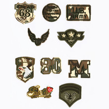 Camouflage Letter Number Patchwork Patch Embroidered Patches For Clothing Iron On Close Shoes Bags Badges