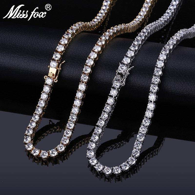 MISSFOX HIP Hop Mens Fashion Lab Created 5 Mm 24K Gold PT AAA Cubic Zirconia Choker Solitaires Tennis Chain Necklace 18 22MISSFOX HIP Hop Mens Fashion Lab Created 5 Mm 24K Gold PT AAA Cubic Zirconia Choker Solitaires Tennis Chain Necklace 18 22