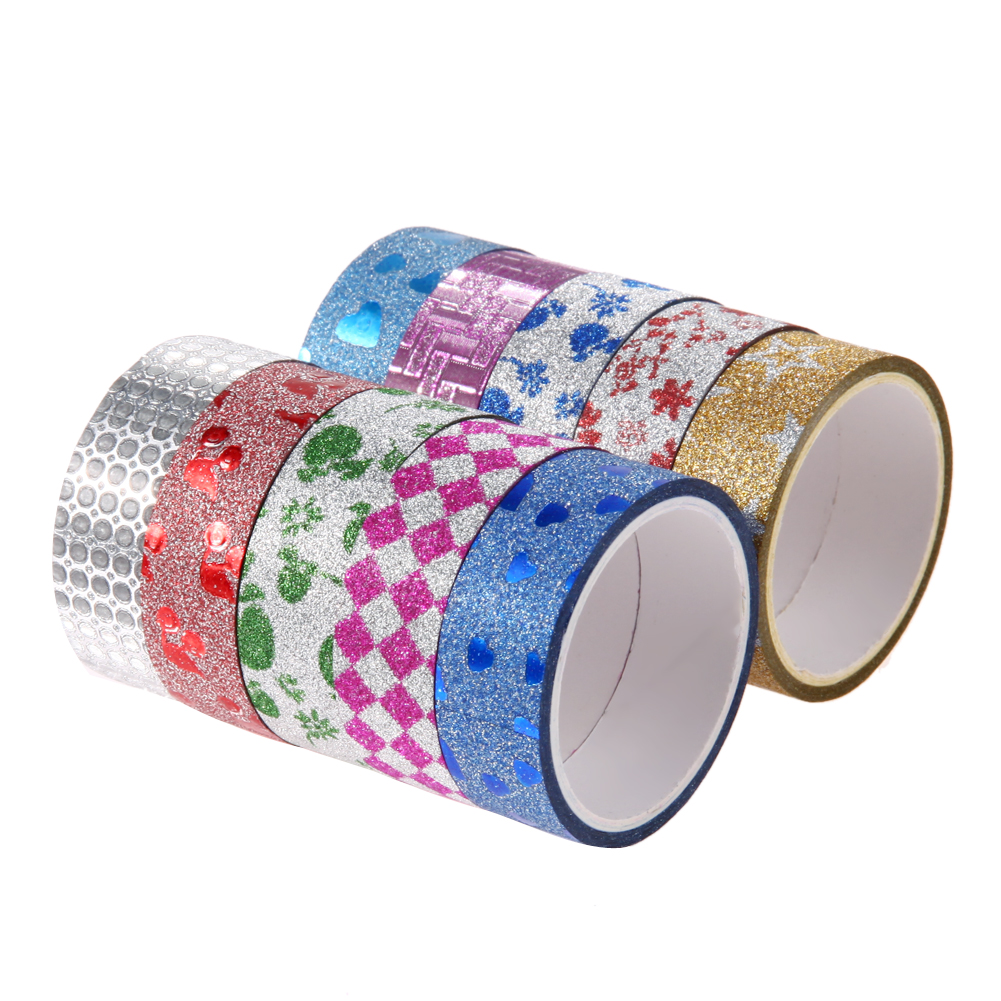 10pcs Rainbow Glitter Masking Tape Christmas Photo Album DIY Decorative Scrapbooking Adhesive Tapes