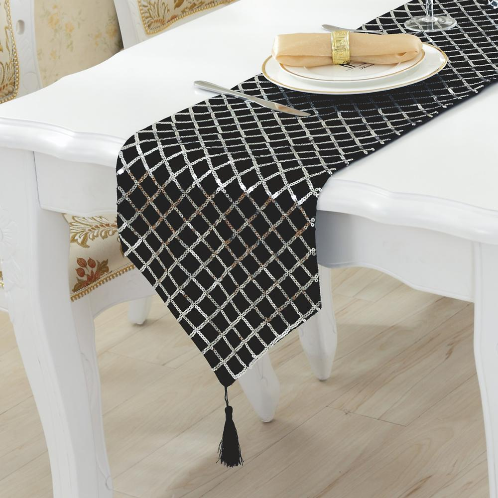 Modern Style Sequins Table Runner Fashion Contracted Black Silver Red Tea Table  Cloth/table Between Example Act The Role Ofing In Table Runners From Home  ...