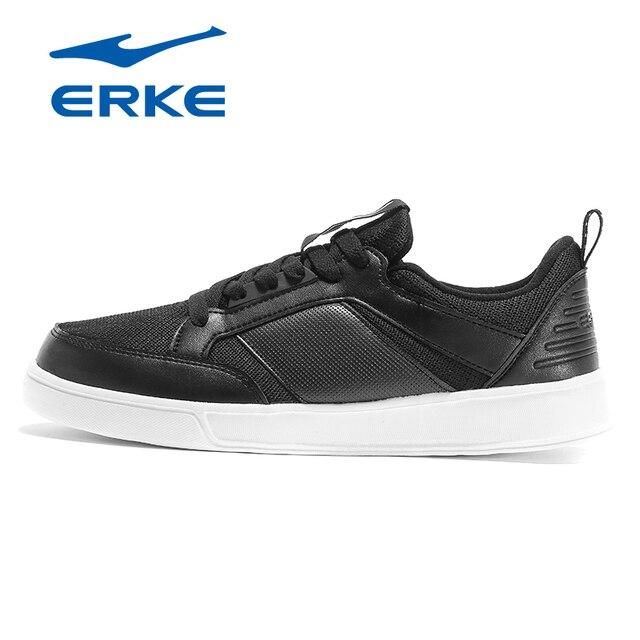 Ерке фирменные Классические спортивные теннисные туфли дышащие на шнуровке тренеров Теннис Спортивных производство обуви черно-белые туфли