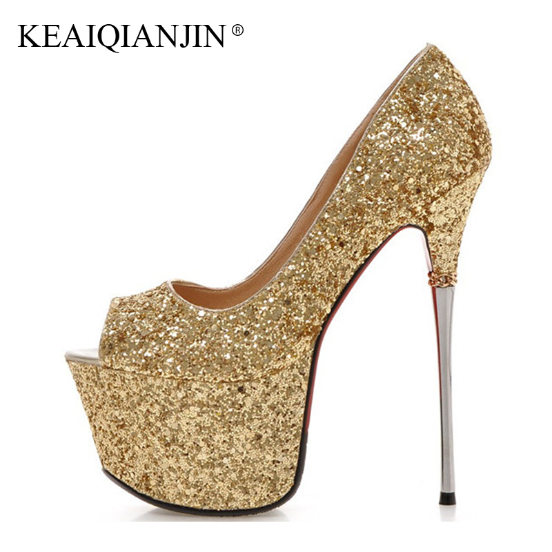KEAIQIANJIN Woman Sexy Pumps Plus Size 33 - 43 16 CM Ultra High Heels Shoes Party White Wedding Pumps Bling White Golden Pumps