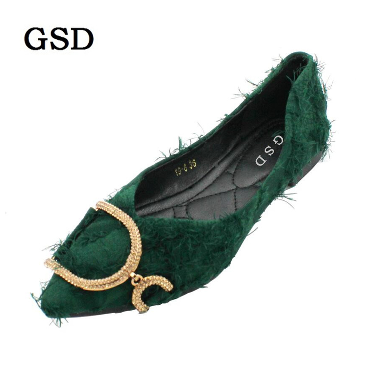 Women Flats Pointed Toe Casual Single Shoes Woman Autumn Crystal buckle Design Brand Fashion Women Shoes