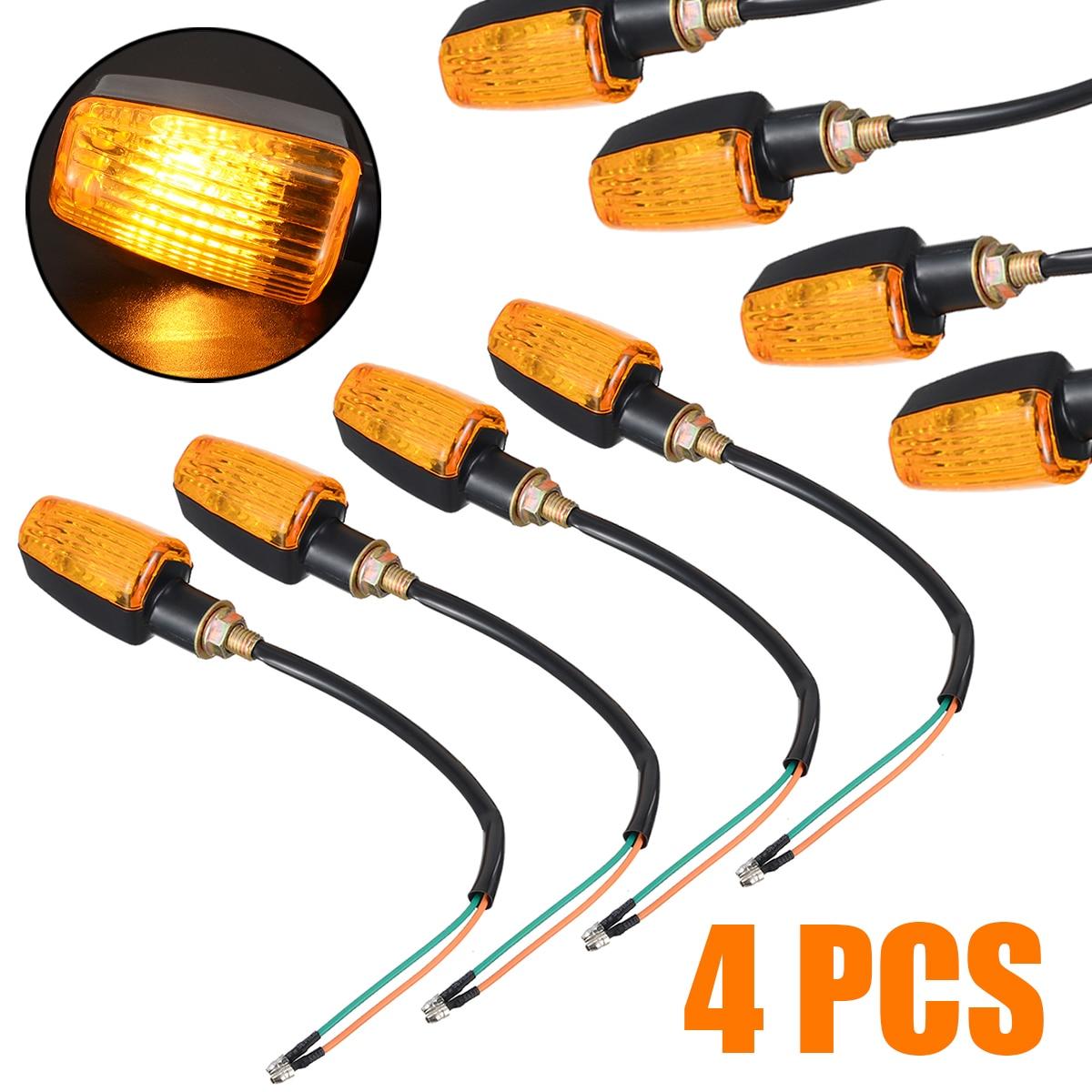 4pcs Universal Motorcycle Turn Signal Universal DC 12V 3W Motorbike Indicator Turning Light Lamp Amber Bulb