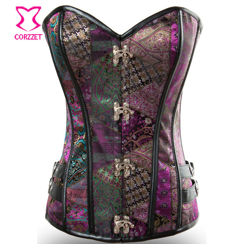 ab7f9e05bbb Purple Vintage Pattern Steampunk Corset Corselet Gothic Clothing Steel  Boned Waist Slimming Corsets And Bustiers Burlesque Korse-in Bustiers    Corsets from ...