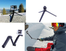 For 3Way Multi-function Folding Arm Lever Tripod Mount for GoPro Hero 5 four SJ4000 Sjcam XiaoYi Digital camera Monopod Go Professional Equipment