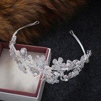 Dower me Shine Rhinestone Flower Bridal Headband Silver Hair Accessories Handmade Pearl Wedding Headpiece