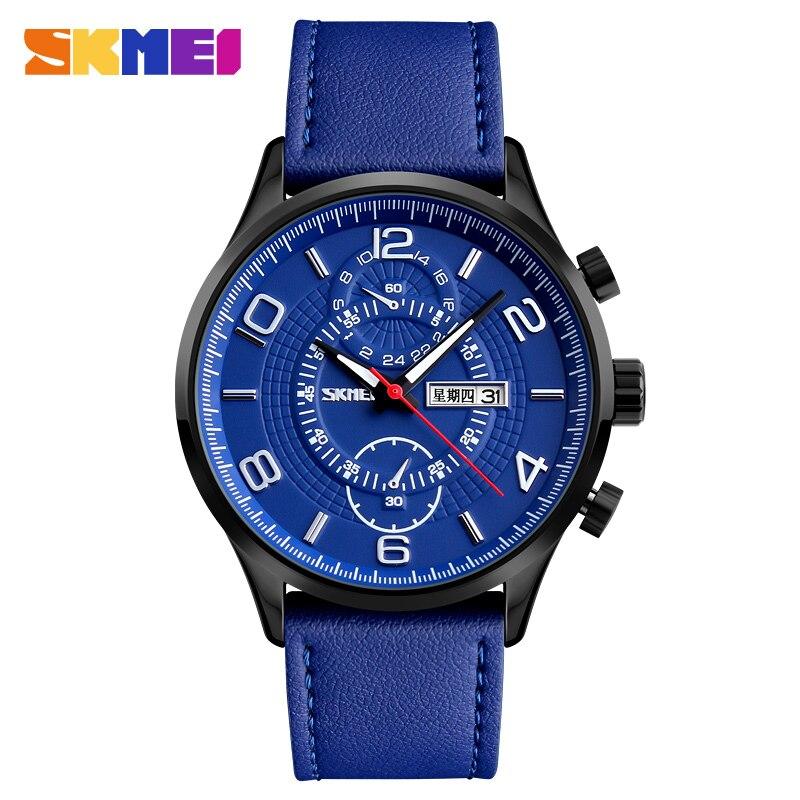Reloj de cuarzo a la moda SKMEI marca correa de cuero reloj de la Semana de la fecha a prueba de agua relojes de pulsera para hombre