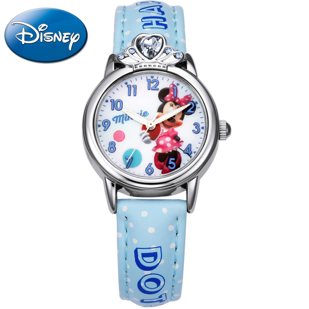 Minnie mouse children lovely crystal rhinestone cartoon watch girls fashion casual Kids leather watches Hapiness Disney 14038
