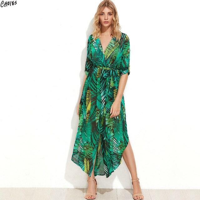 best loved 5f699 15e7d US $32.71 |Grün Revers V ausschnitt Side Split Maxi Shirt kleid Frauen Roll  up Sleeve Gebunden Hohe Taille Beiläufige Strand Gerade sommer Kleider in  ...