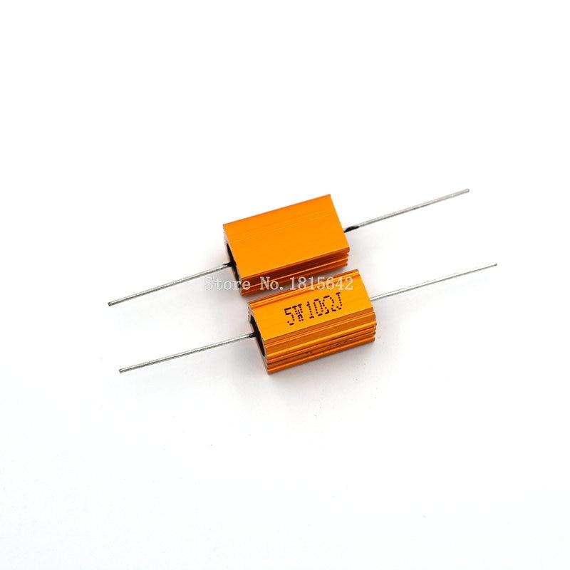 2PCS RX24 5W 10R 10RJ Power Metal Shell Aluminium Gold Resistor High Power Resistance Golden Heat Sink Resistor 5Watt 10 Ohm