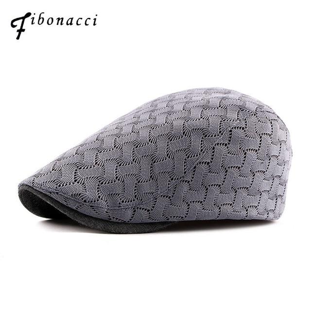 Fibonacci 2018 nueva Alta Calidad Breathabl malla tejer sombreros estilo  francés de las mujeres adultas Cabbie 5c16b74a8dd