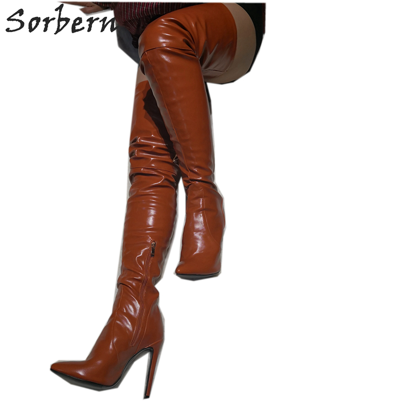 Sorbern Brown Oil Pu Women Boots Med Thigh High Boots For Women Over The Knee Pointy Toes Side Zipper Custom Leg Size ShoesSorbern Brown Oil Pu Women Boots Med Thigh High Boots For Women Over The Knee Pointy Toes Side Zipper Custom Leg Size Shoes