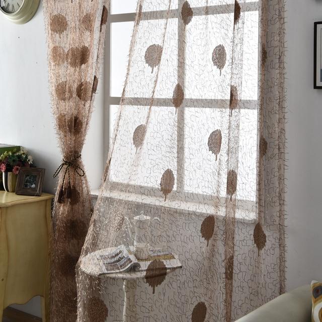 US $5.0 49% di SCONTO Bianco tulle tende jacquard pura trattamenti balcone  porta della cucina rustica Floreale marrone tessuti finestra viola in ...