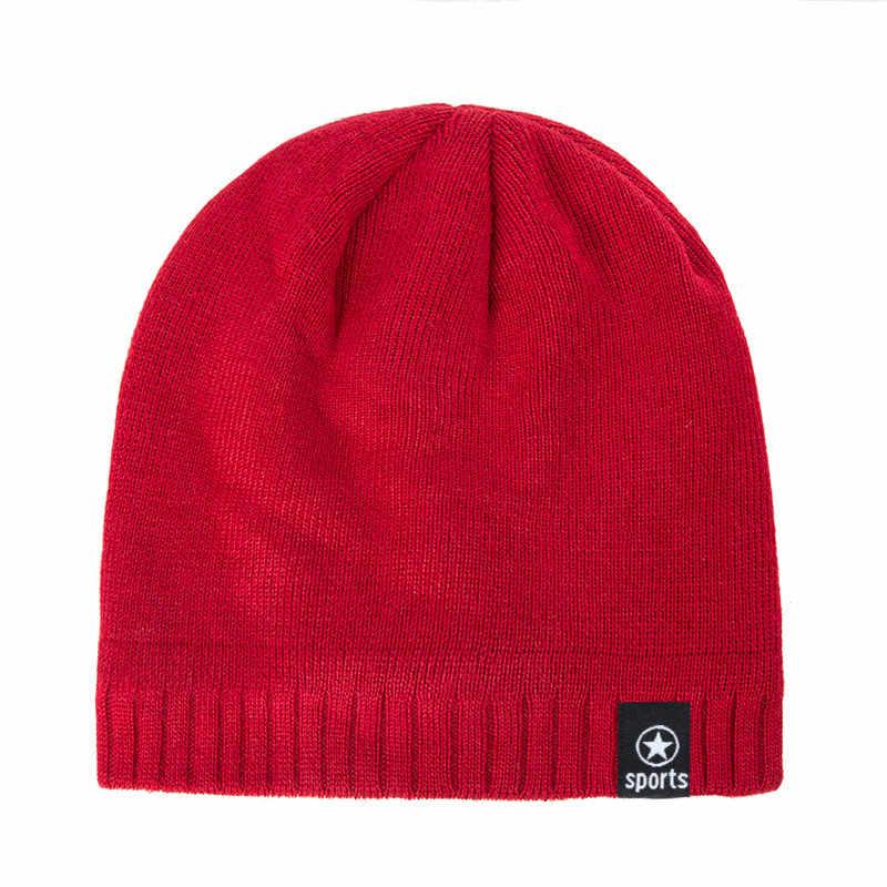 Yeni kış şapka erkekler düz renk örgü yün kasketleri sonbahar kış sıcak rahat şapka açık aksesuarları kalın pamuk şapkalar