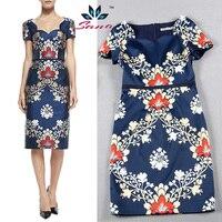 Sana Good Quality 2015 New Dresses Famous Brand Women Dresses Vintage Printing Pattern Blue S XXL