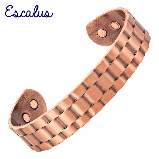 Escalus  Men's Vintage Antique Pure Copper Powerful Magnetic Bangle For Men Healing Charms Hot Bracelet fashion Wristband