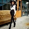 Originais Da Marca 2016 Outono e Inverno Calças de Cintura Alta Plus Size Calças Slim Moda Vintage Cheio As Mulheres Por Atacado