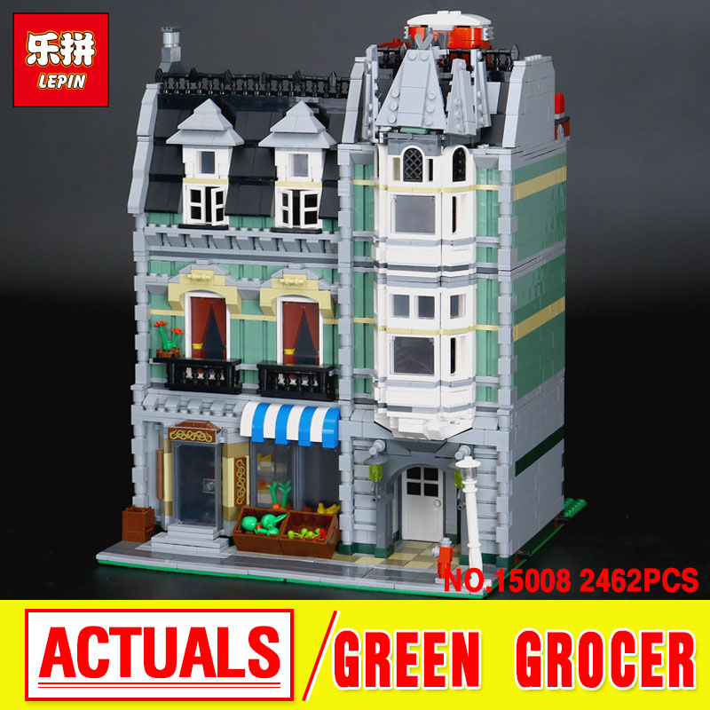 LEPIN 15008 2462Pcs Genuine New City Street Green Grocer Model Building Kit Blocks Bricks Toy Gift Compatitive Funny 10185 dhl lepin15008 2462pcs city street green grocer model building kits blocks bricks compatible educational toy 10185 children gift