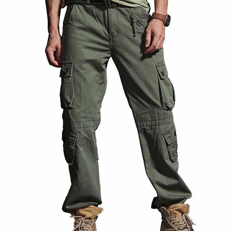متعدد الجيب العسكرية الجيش البضائع السراويل الرجال عارضة سراويل قطنية مستقيم فضفاض فضفاض السراويل في الهواء الطلق ركض السراويل الذكور الملابس