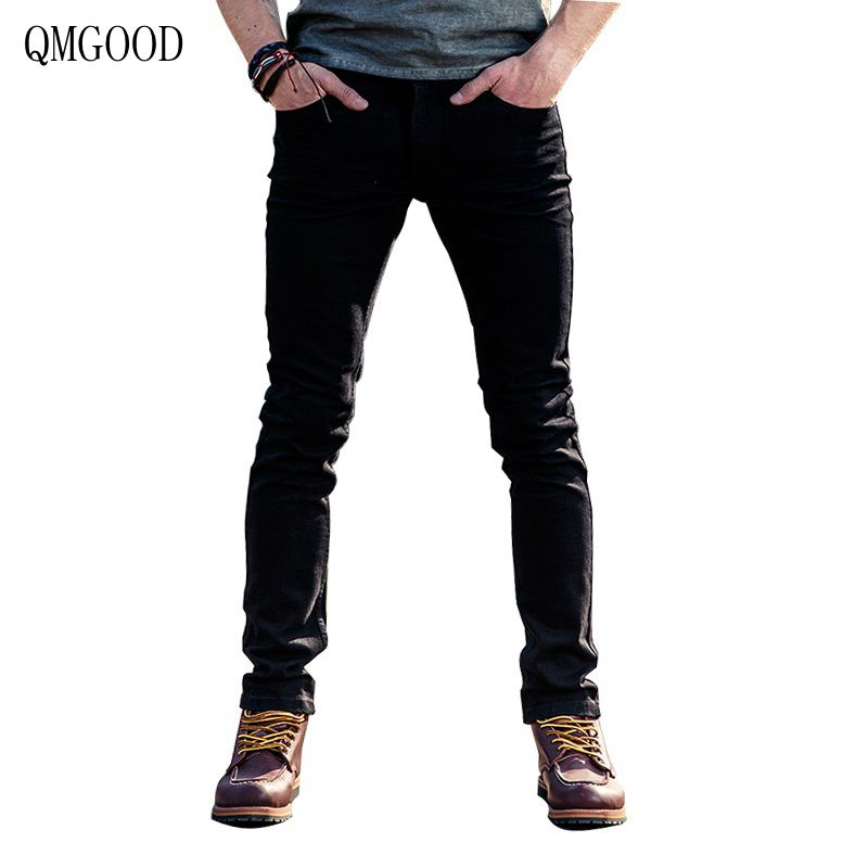 QMGOOD 2017 New Arrival Mens Black Large Size Jeans Slim Fit Quality Brand Men Denim Skinny Jeans Trousers for Male 75% Cotton black navy m xxl quality 2017 spring new arrival ripped jeans for men fashion brand men jeans slim fit jeans men jx01