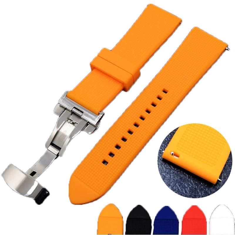 AOOW Universal Silicone Watchband Butterfly Buckle Band Steel Buckle Strap Wrist Belt Bracelet 18mm 20mm 22mm For Men Women