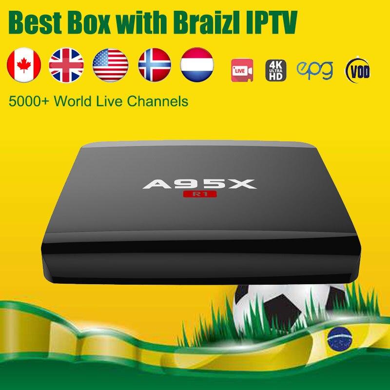 A95X-R1 Android Smart TV Box Brazil IsraeI Nordic UK Norway Finland S905W 1GB/8GB HDMI 2.0 Smart TV Box 4800 Channels World IPTV alfawise a95x r1 tv box