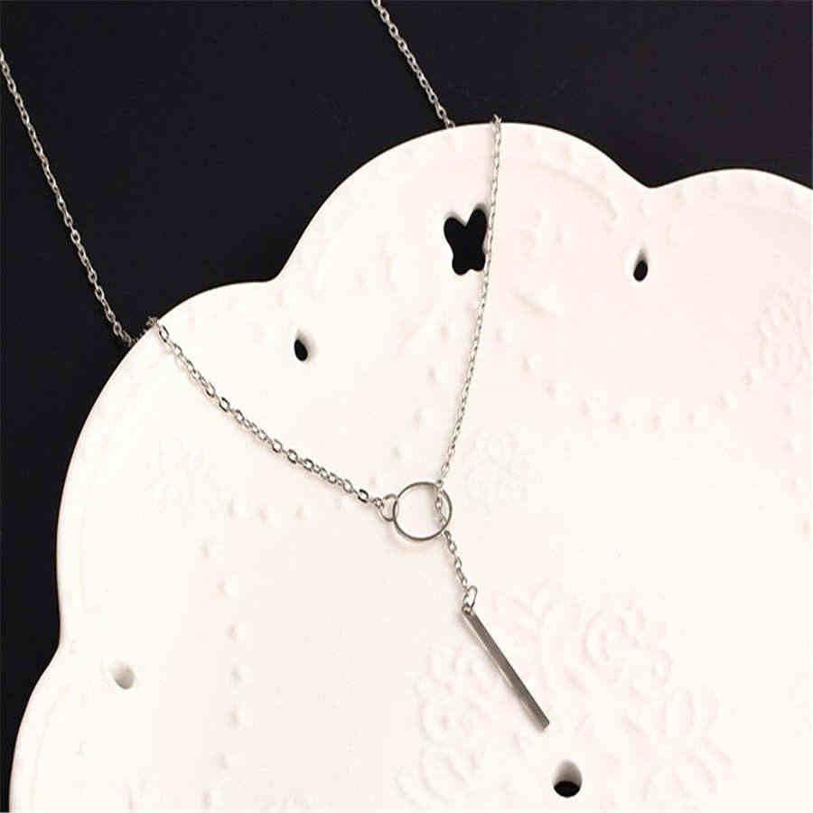 Fainnole nowy 2018 czechy proste złoty kolor srebrny długie geometryczne spadek naszyjniki dla kobiet oświadczenie modny wisiorek
