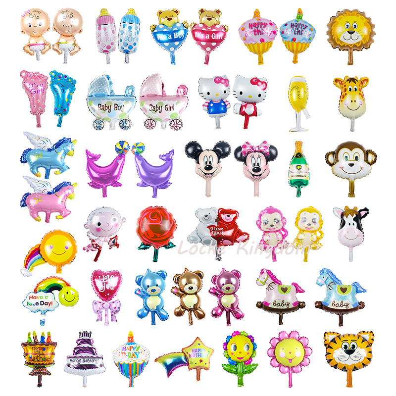 Lucky 5pcs/lot 20*50 cm Cartoon Mini Balloon Baby Shower Ballon Animal Foil Air Balloons Party Decoration Globos Baloes De Festa