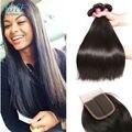 Straight Brazilian Virgin Hair With Closure Cheap Brazilian Hair 3 Bundles And Closure Mink Brazilian Hair With Closure