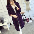 Plaid Long Sleeve Sweater Women Autumn Winter Fashion Camouflage Long Female Sweater Cardigan Women's Trench Sweter Mujer