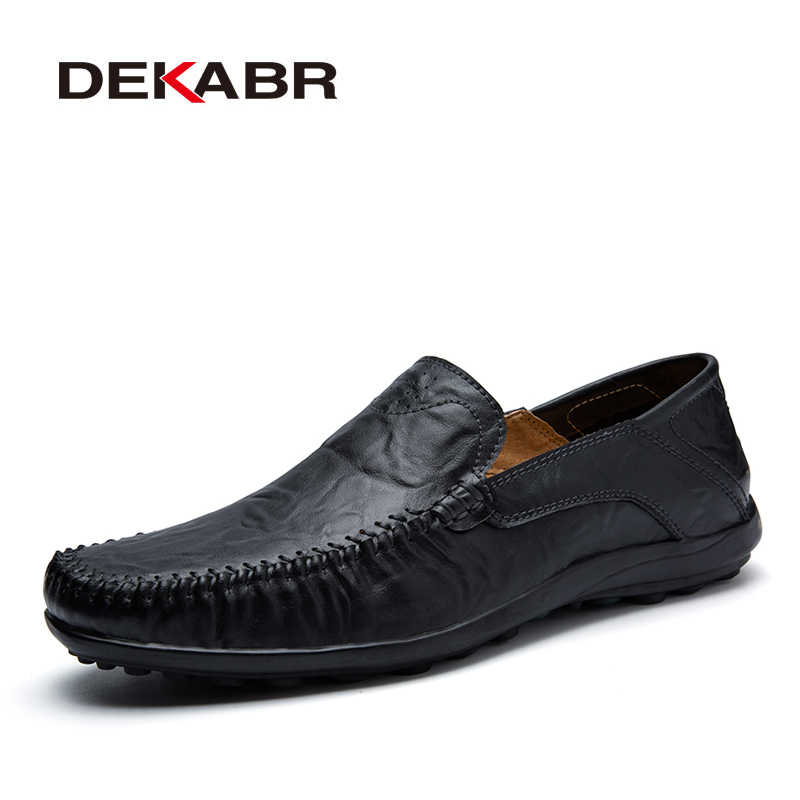 DEKABR Soft Leather Men Loafers New Handmade Casual Shoes Men Moccasins For Men Split Leather Flat Shoes Big size 38-47