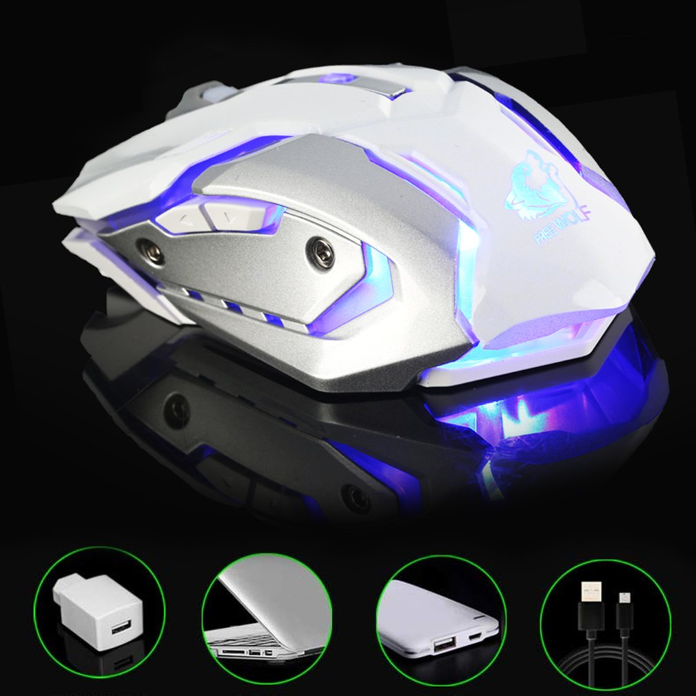X7 Ergonomic Gaming Mouse 6 Buttons Professional Computer Mouse LED Luminous 2.4G Wireless Mouse For PC Computer Laptop