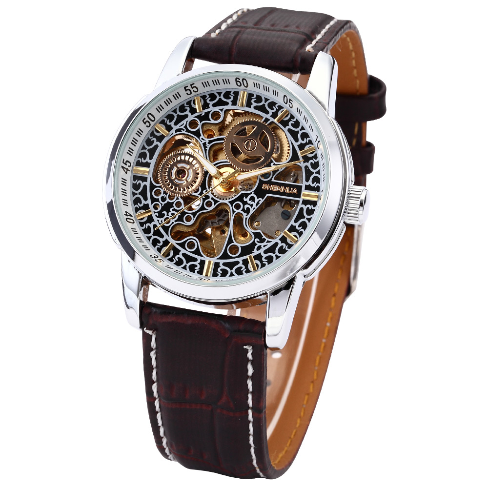 цена на SHENHUA 1274 Leather Band Skeleton Steampunk Dial Mens Watches Top Brand Luxury Automatic Watch Men Erkek Kol Saati