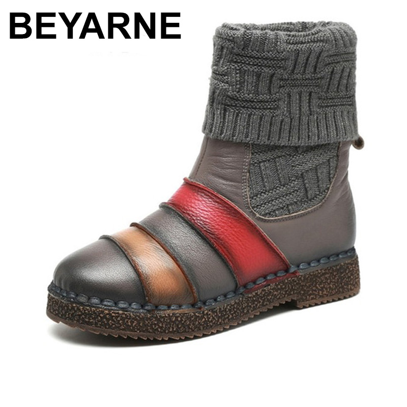 BEYARNE Knitting Ankle Boots Genuien Leather 2018 Winter Platform Female Vintage Snow Boots Retro Handmade Women Warm Shoes serene handmade winter warm socks boots fashion british style leather retro tooling ankle men shoes size38 44 snow male footwear
