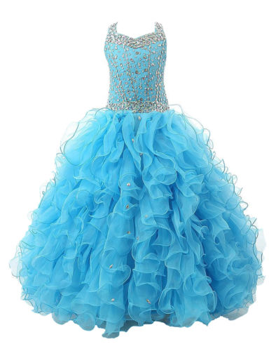 Hot Stock Size Bule Layer Beads Pre-Teen Party Gowns Little Girls Pageant Dress hot sale beads