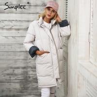 Simplee Cotton Padded Warm Black Parka Women Jacket Zipper Pocket Outerwear Parkas 2017 Autumn Winter Casual