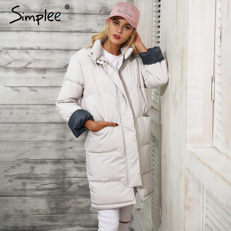 Simplee Cotton padded warm black parka Women jacket zipper pocket outerwear parkas 2017 Autumn winter casual overcoat female